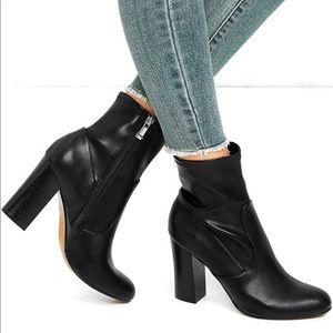 NEW Black Chunky High Heel Mid Calf Boots